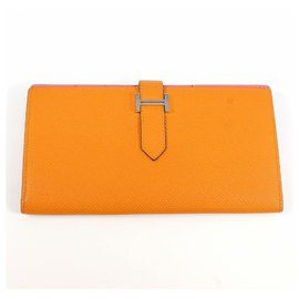 Hermès-HERMES Bearn Soufflet unisex long wallet apricot x rose azalee silver hardware-Other