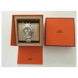 "Hermès-Hermès: ""Clipper Diver Chronograph"" watch in steel, silver dial 36MM, quartz-Silvery"