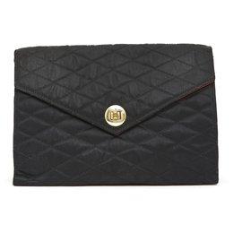 Chanel-BLACK SATIN VINTAGE CLUTCH CLASSIC-Black