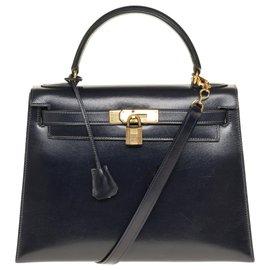 Hermès-Splendid Hermès Kelly 30 saddle pad in navy box leather with shoulder strap, gold plated metal trim-Navy blue