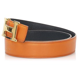 Hermès-Hermes Orange Constance Leather Belt-Silvery,Orange