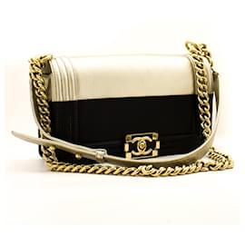 Chanel-CHANEL Bicolor Medium Boy Flap Chain Shoulder Bag Black Gold-Black