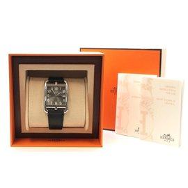 Hermès-Hermès Silver Black Quarz Cope Cod Men Womrn Watch-Silvery