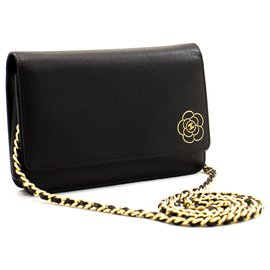 Chanel-CHANEL Caviar Black Camellia Wallet On Chain WOC Shoulder Bag-Black