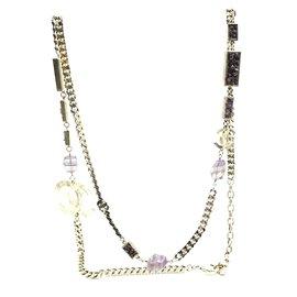 Chanel-Chanel Gold CC Purple Quartz Stones Long Necklace-Golden