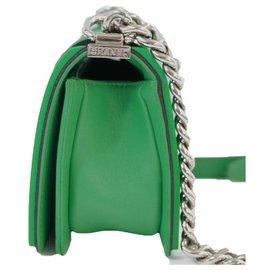 Chanel-CHANEL BOY Womens shoulder bag A67085 green x black xSV hardware-Other,Green