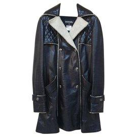 Chanel-Chanel Black Leather Fur Coat-Black