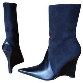 Casadei-CASADEI ANKLE BOOTS IN SUEDE & LEATHER-Black