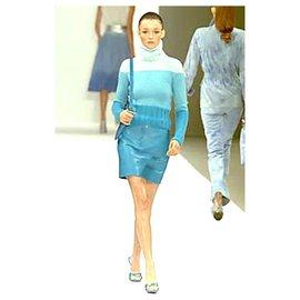 Céline-SS00 Cyan Leather Skirt-Blue