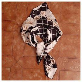 Chanel-Silk scarf-Black,Multiple colors