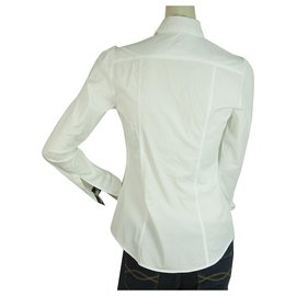 Burberry-Burberry London White Black Check Trim Top Button Down Shirt Blouse UK 6, US 4-White