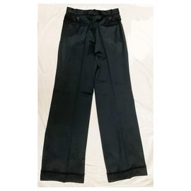 Chanel-Satin wool crepe evening trousers-Black