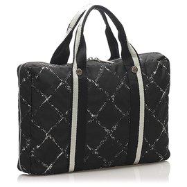 Chanel-Chanel Black Old Travel Line Nylon Laptop Case-Black,White
