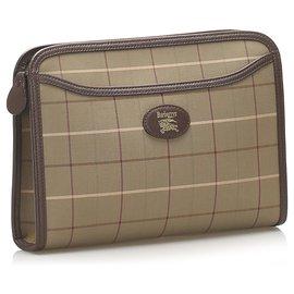 Burberry-Burberry Brown Canvas Clutch Bag-Brown,Khaki