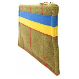 Hermès-Hermes Yellow Plaid Wool Pouch-Multiple colors,Yellow