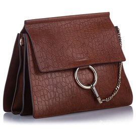 Chloé-Chloe Brown Faye Embossed Leather Shoulder Bag-Brown