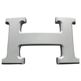 Hermès-Hermès belt buckle 5382 in matt silver PVD steel 32MM-Silvery