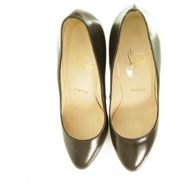 Christian Louboutin-CHRISTIAN LOUBOUTIN 130mm Almond Toe dark brown platform pumps Heels size 40,5-Brown