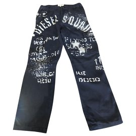 Diesel-Pants-White,Navy blue