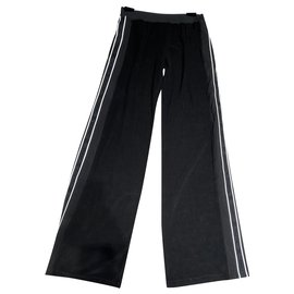 Chanel-Pants, leggings-Black,White