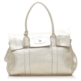 Mulberry-Mulberry Silver Bayswater Leather Handbag-Silvery