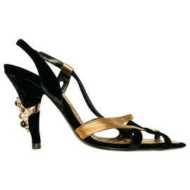 Chanel-Gold and black pumps with pearls-Black