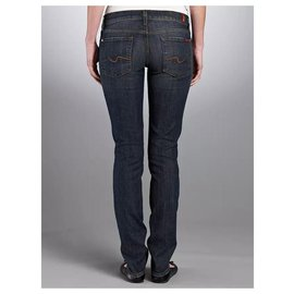 7 For All Mankind-Roxanne ankle crop with square embellishment-Blue