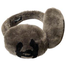 Chanel-CHANEL CC MOUTON EAR MUFFS SHEEP GRAY FUR-Grey