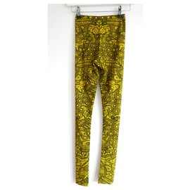 Alexander Mcqueen-Resort '17 Yellow Dragonfly Lace Print Leggings-Yellow