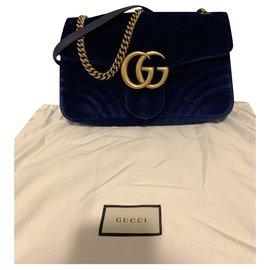 Gucci-Gucci Marmont en velours bleu-Bleu