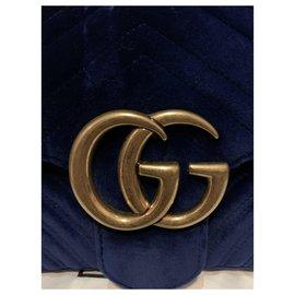 Gucci-Gucci Marmont aus blauem Samt-Blau