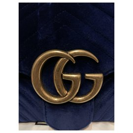 Gucci-Gucci Marmont in blue velvet-Blue