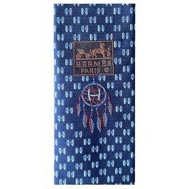 Hermès-Ties-Navy blue,Light blue
