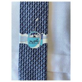 Hermès-Ties-Navy blue