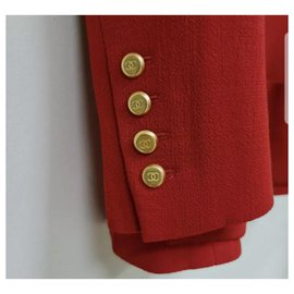 Chanel-CHANEL Vintage Red Wool Long Jacket Blazer CC Button Sz.42-Dark red