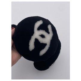 Chanel-CHANEL CC MOUTON EAR MUFFS SHEEP BLACK FUR-Black,White
