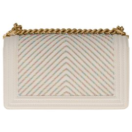Chanel-Limited edition - Superb Chanel Boy old medium in multicolored embroidered chevron quilted ivory calf leather, hardware in aged gold metal-Eggshell
