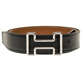 Hermès-Hermes Belt 32mm in black reverse box leather and gold courchevel, Tonight buckle in palladium silver metal-Black,Golden