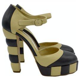 Chanel-Color block platform sandals-Black,Beige