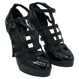 Chanel-Multi strap sandals-Black