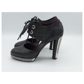 Chanel-Tie front perforated steel Booties-Black