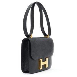 Hermès-CONSTANCE LIZARD BLACK-Black,Gold hardware