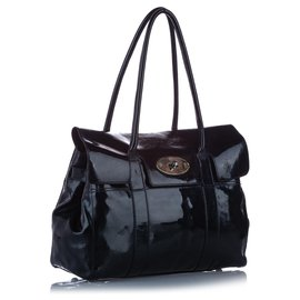 Mulberry-Mulberry Black Bayswater Patent Leather Shoulder Bag-Black