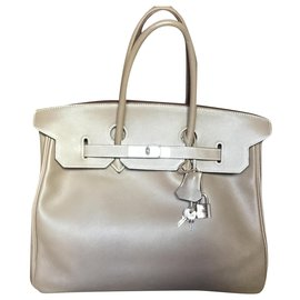 Hermès-Hermes Birkin handbag 35 taupe color-Beige