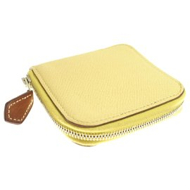 Hermès-Hermes Yellow Epsom Leather Coin Purse-Yellow