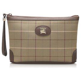 Burberry-Burberry Brown Plaid Canvas Clutch Bag-Brown,Multiple colors,Beige
