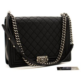Chanel-CHANEL Boy Chain Shoulder Bag Black Quilted Flap Leather Crossbody-Black