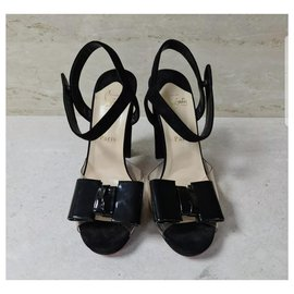 Christian Louboutin-Christian Louboutin  Black Patent Leather Suede One Bow Sandals Sz.39.5-Black