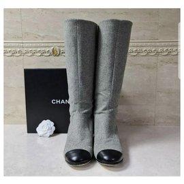 Chanel-Chanel 2017 Gray Wool Boots Sz.38-Grey