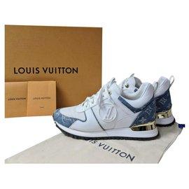 Louis Vuitton-Louis Vuitton Monogram  Denim White Leather Low Tops Trainers Sneakers Sz.37-Multiple colors